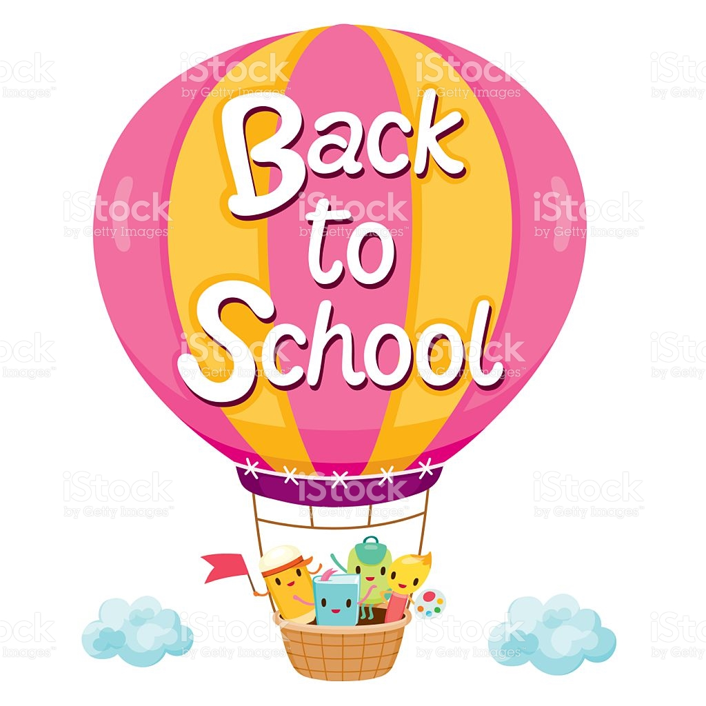 Back To School Letters On Balloon With Education Characters stock.