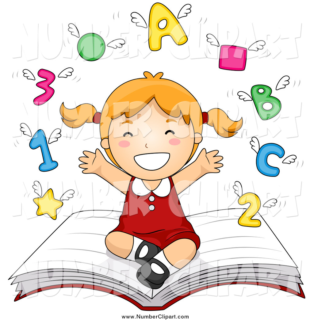 Clipart images of school letters and symbols.