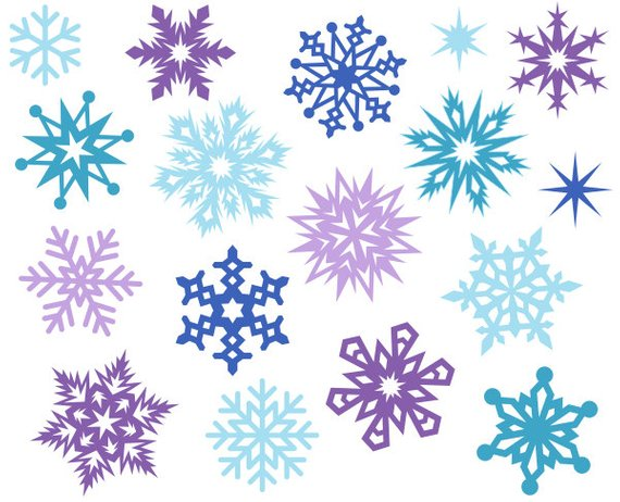 Christmas Snowflakes Cute Digital Clipart, Christmas Clip Art, Xmas.