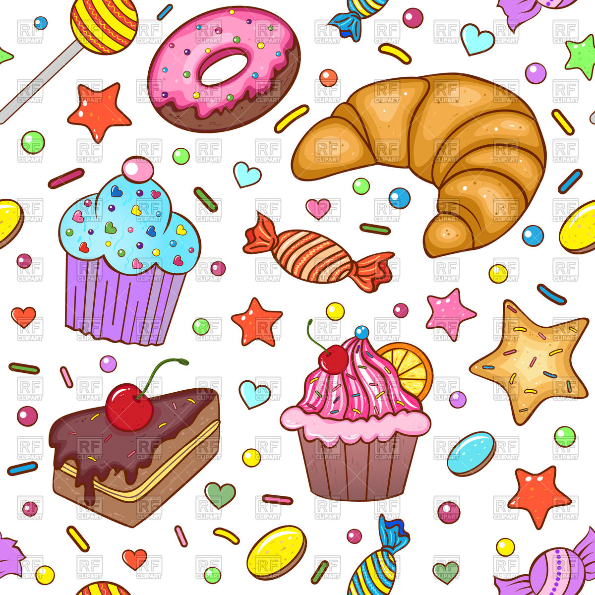 Seamless pattern with sweets Stock Vector Image.