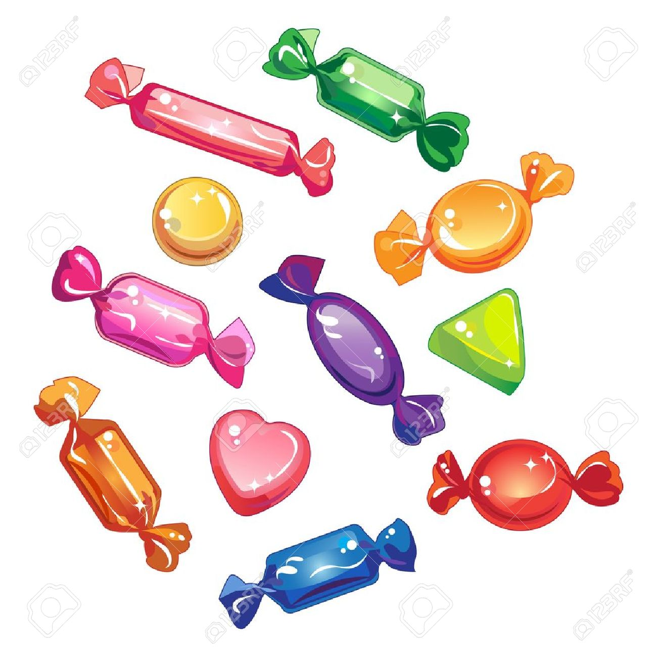 Sweets, candy and chocolate, in colorful shiny wrappers.