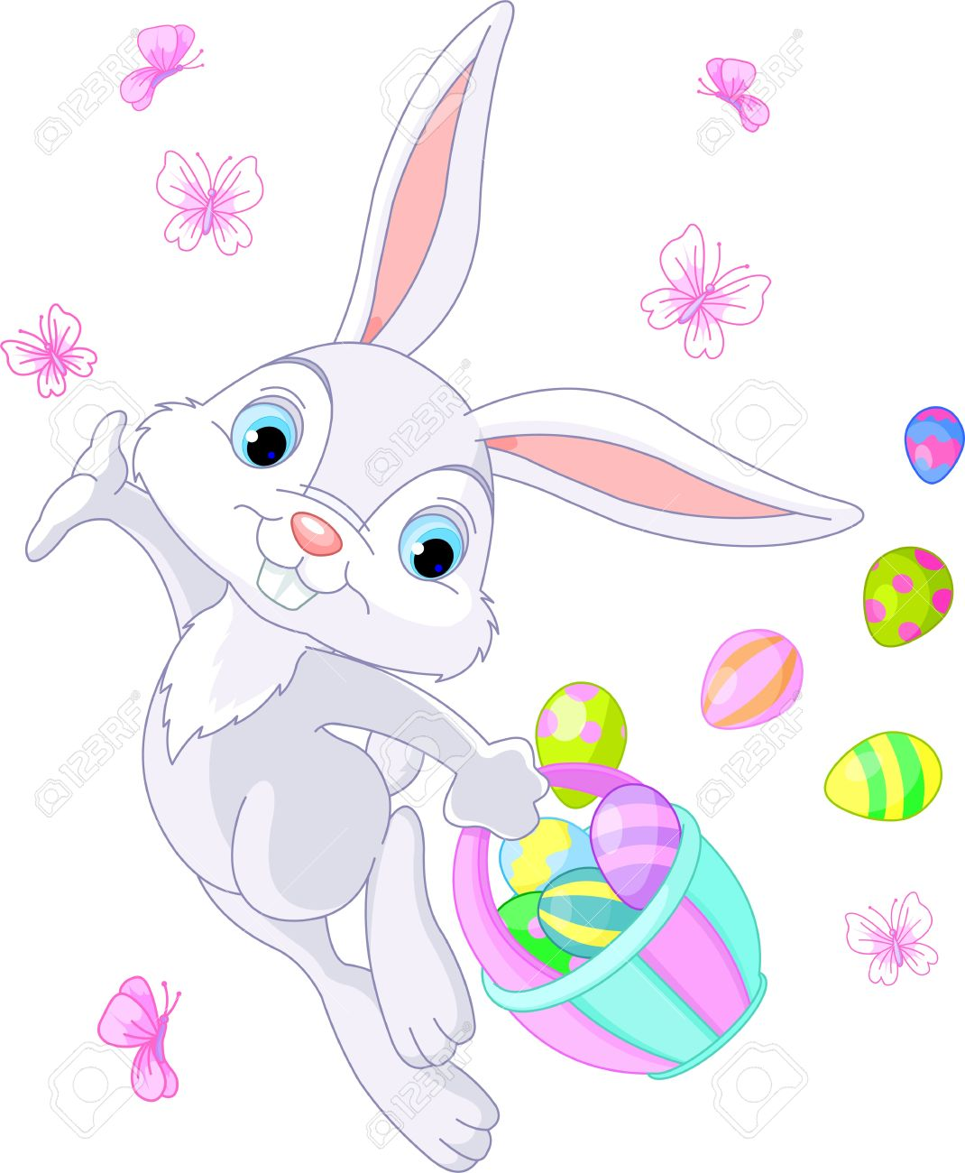 Illustration Of Easter Bunny Hiding Eggs Royalty Free Cliparts.