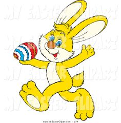 Royalty Free Clipart Image of the Easter Bunny Carrying a Basket.