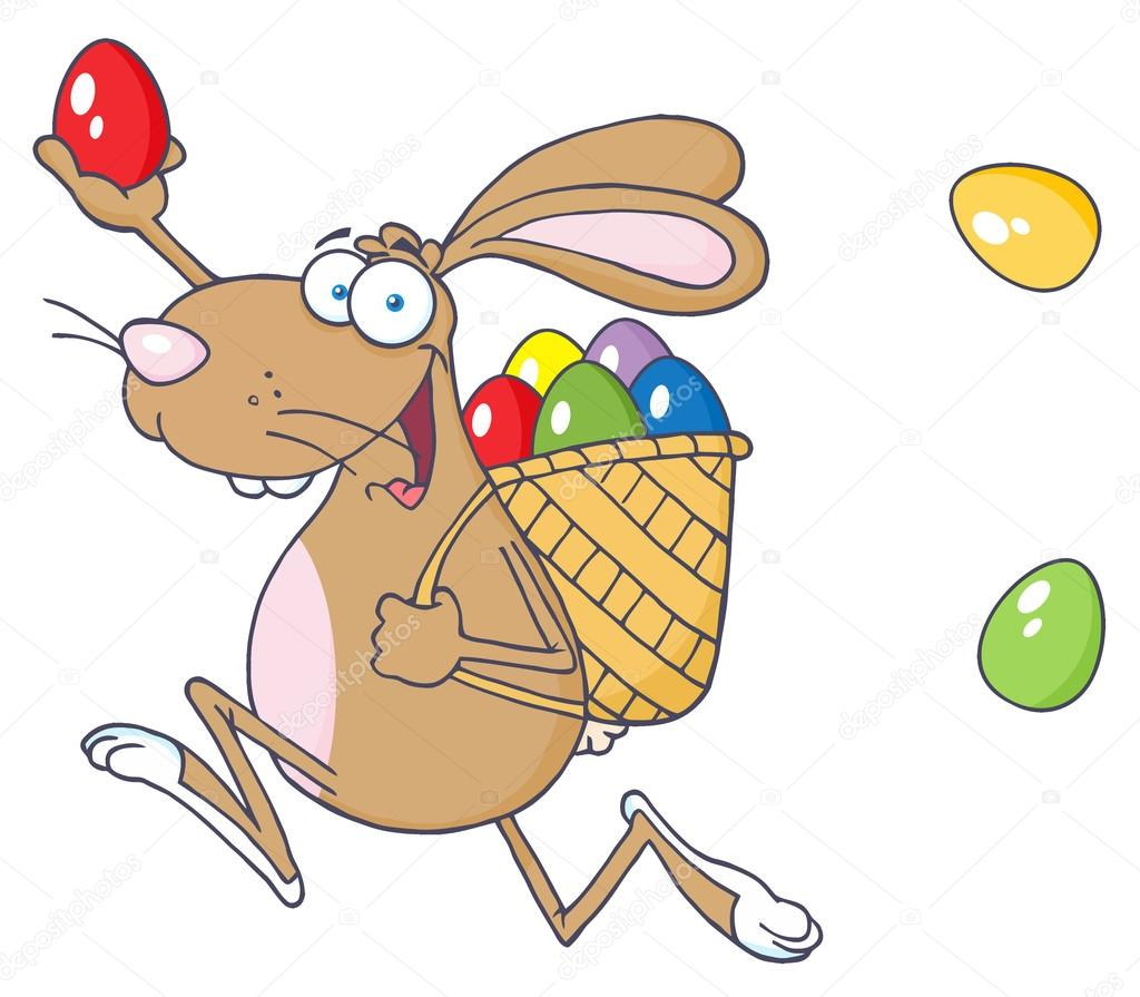 Happy Easter Rabbit Running With A Basket And Egg — Stock Photo.