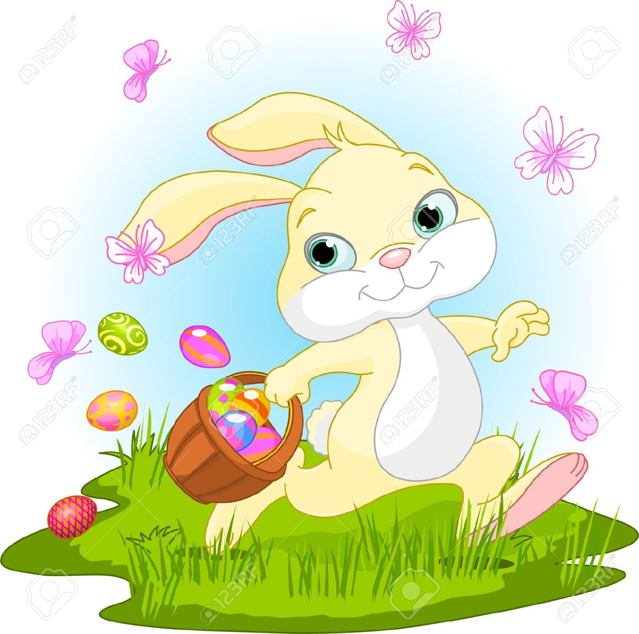Easter Bunny With Eggs Clipart clipart images ...