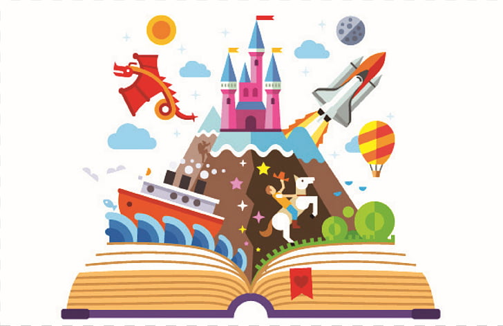 Imagination Book , reading, castle, horse, balloons and.