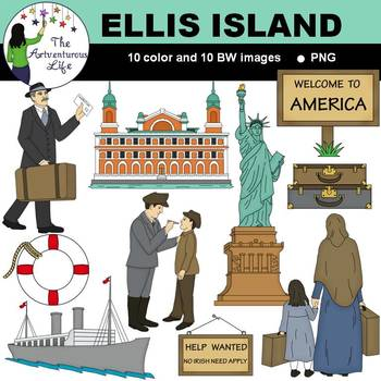 Ellis Island American Immigration Clip Art.