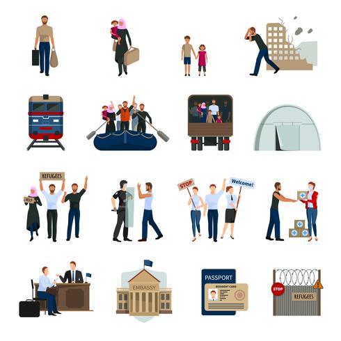 Stateless Refugees Flat Icons Set.