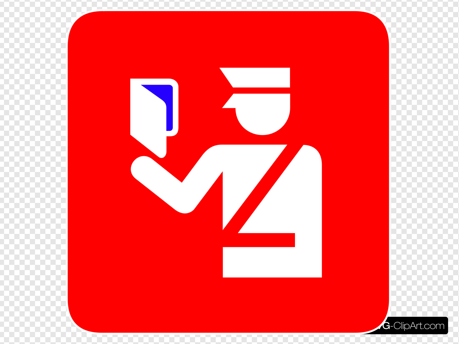 Immigration Police In Red Background Blue 3 Visa Clip art.