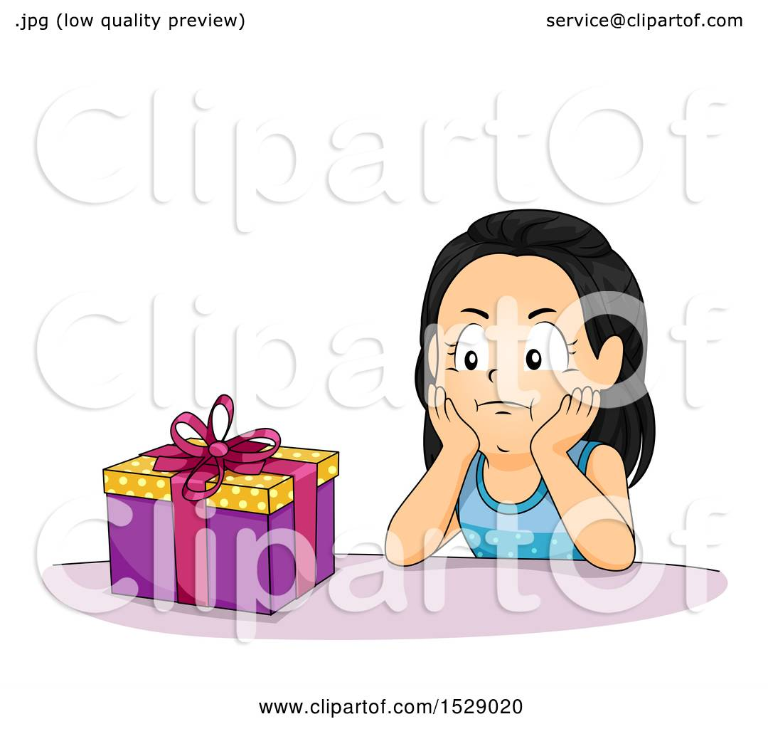 Clipart of a Girl Looking Impatient to Open Her Birthday Present.
