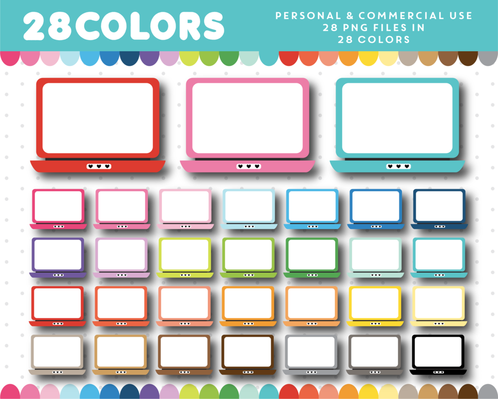 Computer laptop clipart in 28 colors, CL.