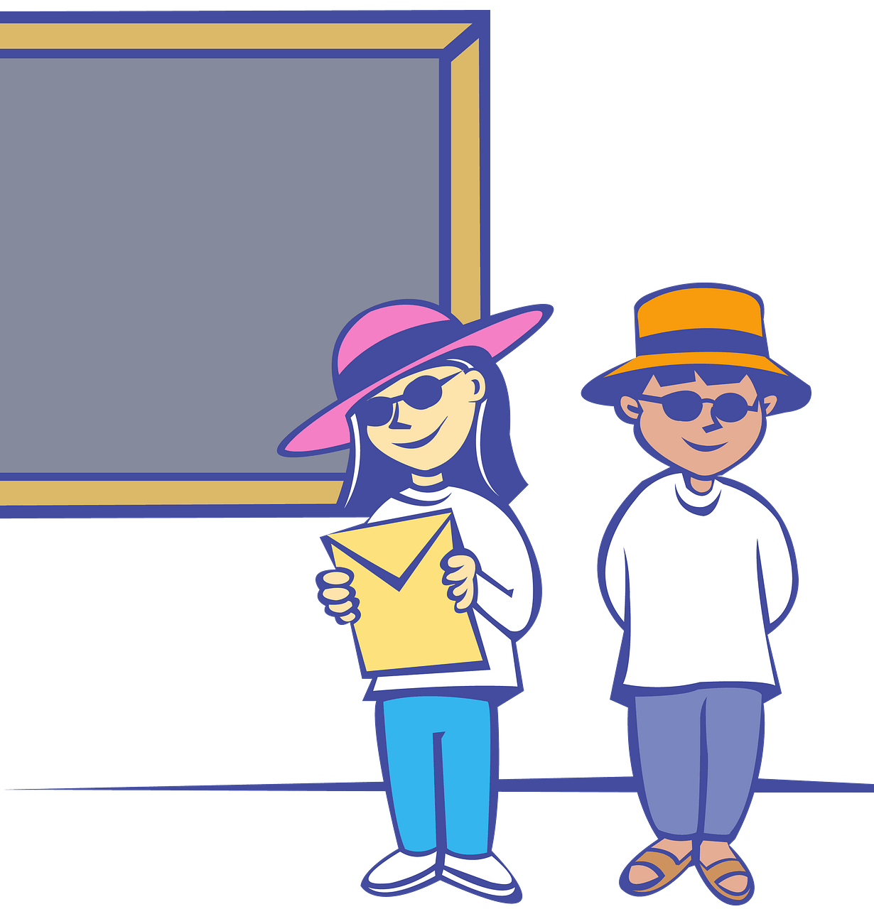 Kids in front of a blackboard clipart. Free download.