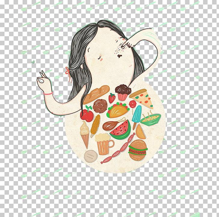 Illustrator Eating Illustration, Rain eat girl PNG clipart.