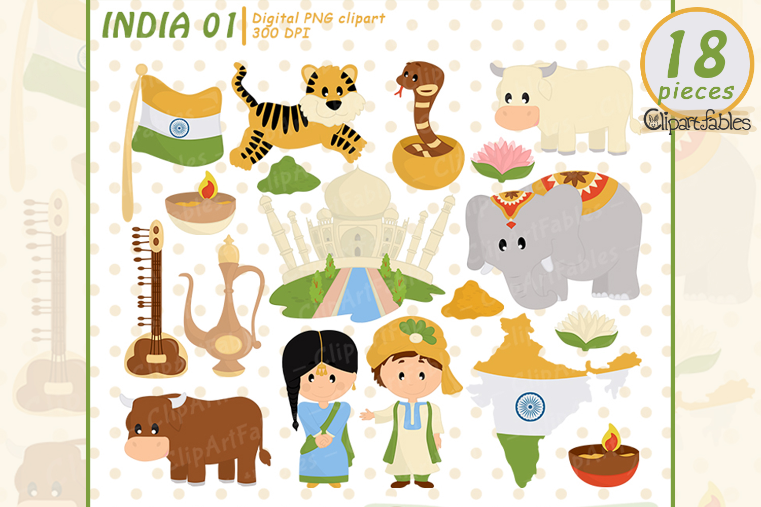 Cute India clipart, Taj Mahal design, Travel clip art.