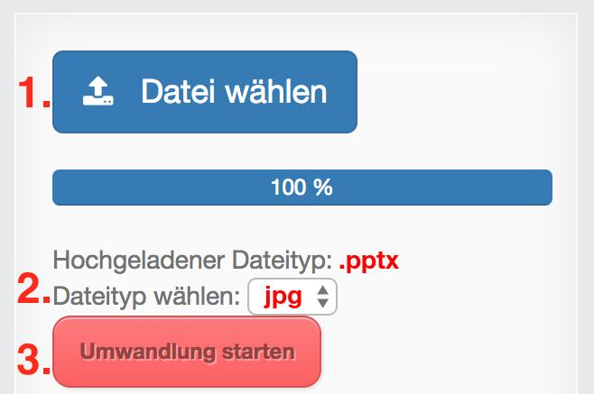 PPTX in JPG Dateien online Konvertieren.
