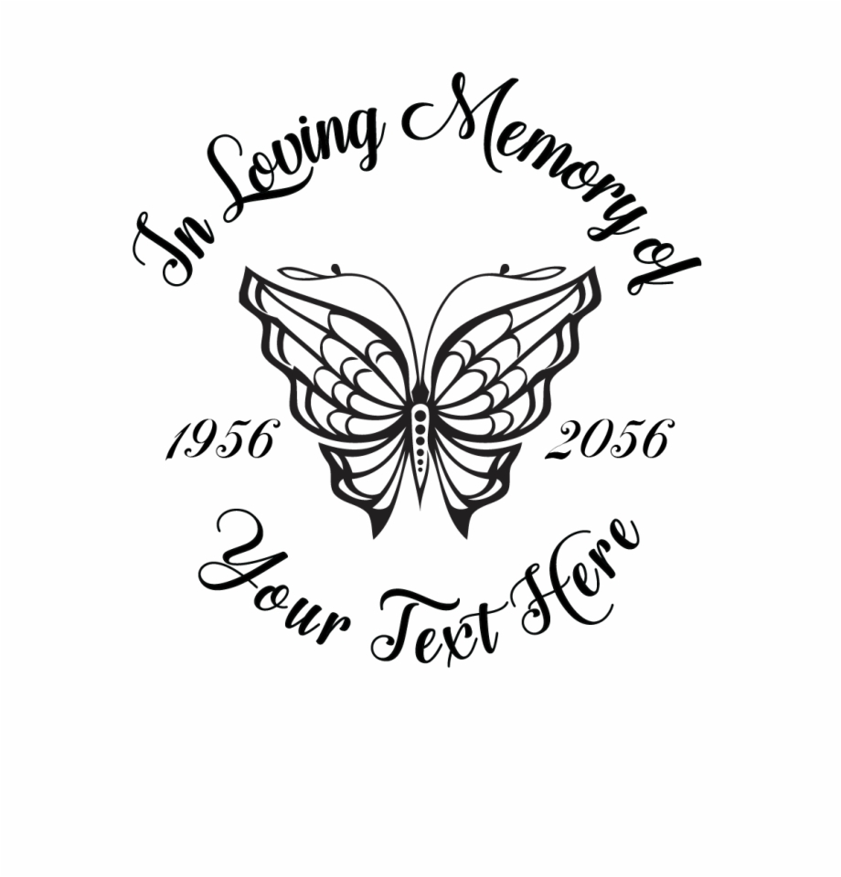In Loving Memory Butterfly Decal Stylized Butterfly Drawing.