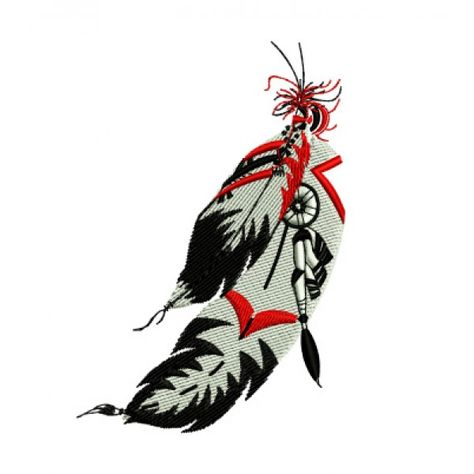 Native American Indian Feathers Western Embroidery Design.