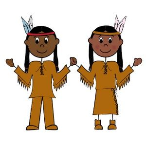 Indian girl and boy clipart.