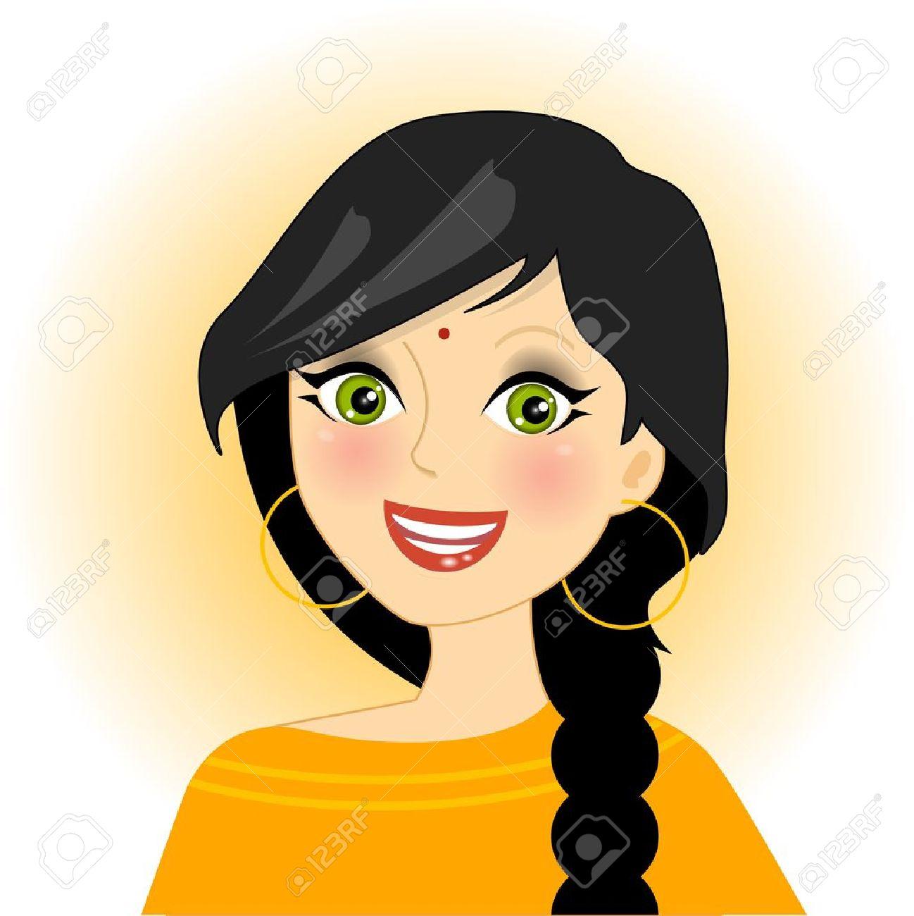 illustration of smiling indian girl.