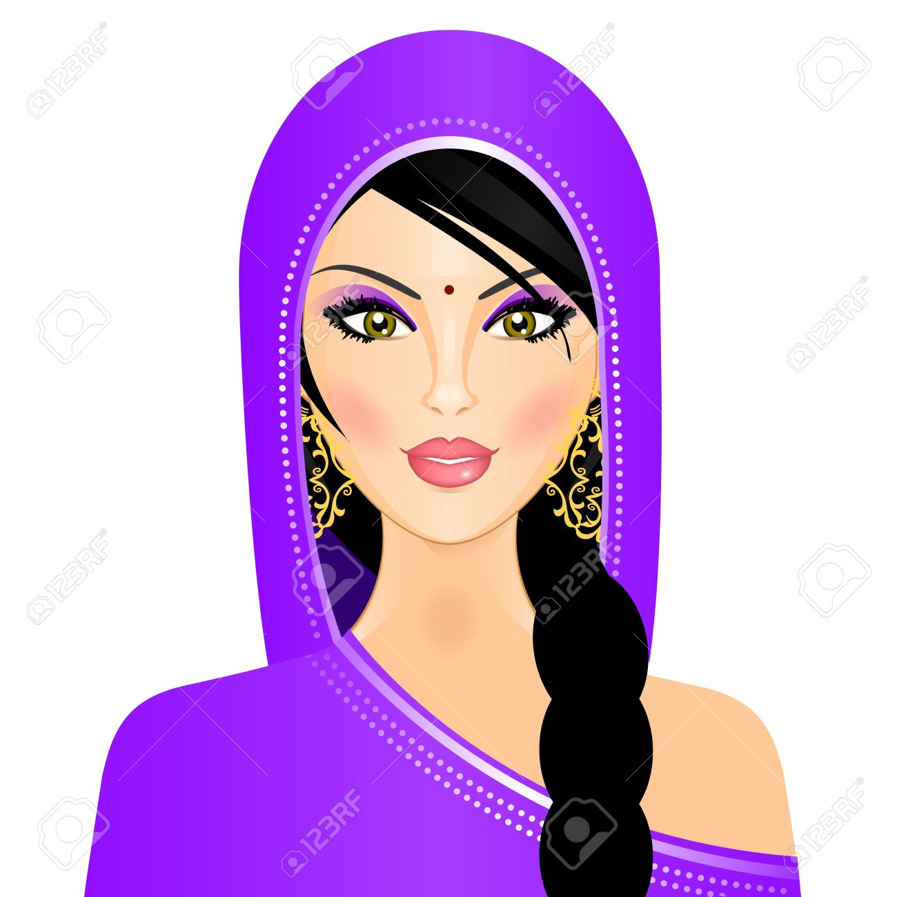 illustration of Indian woman.