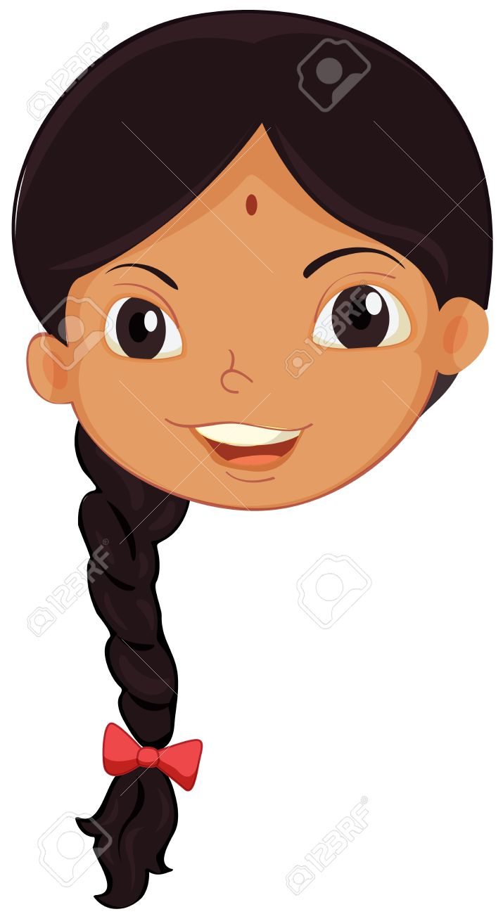 Illustration of the face of an Indian girl.