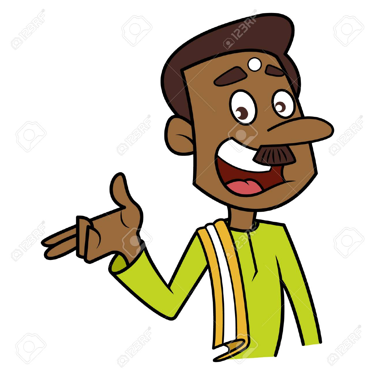 Cartoon south Indian man talking with hand expression..