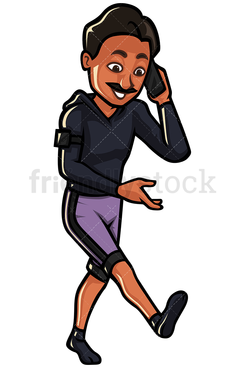 Indian Man Talking On His Cellphone While Walking.