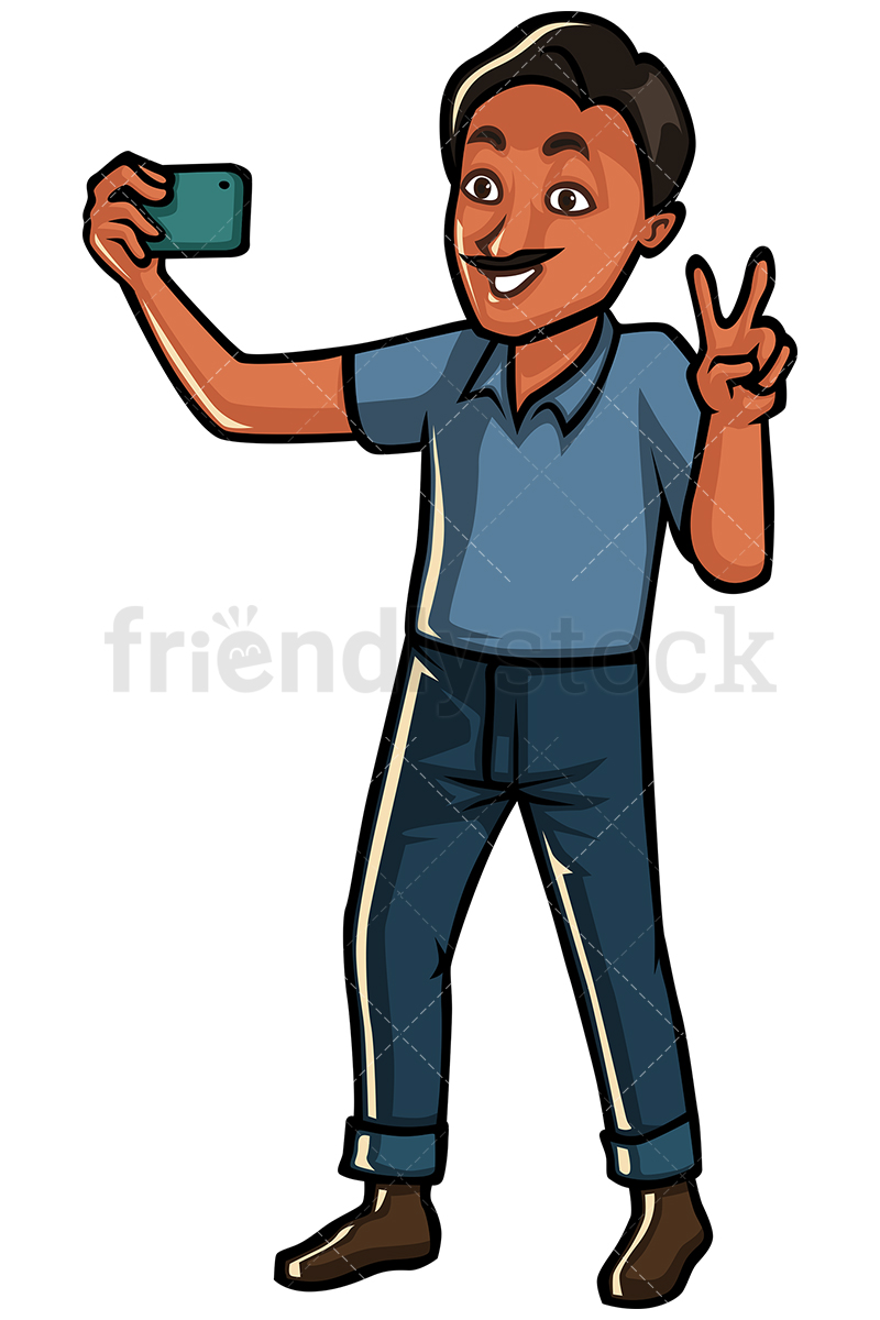 Indian Man Taking Selfie With A Mobile Phone.