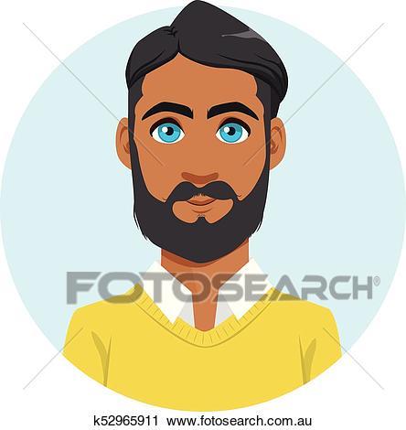 Indian Man Avatar Portrait Clipart.
