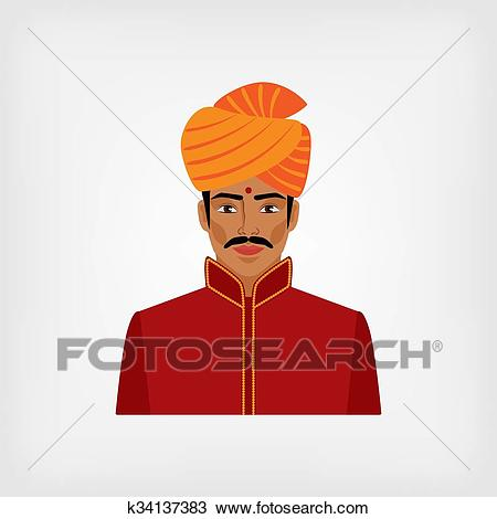 Indian man in traditional clothes Clipart.