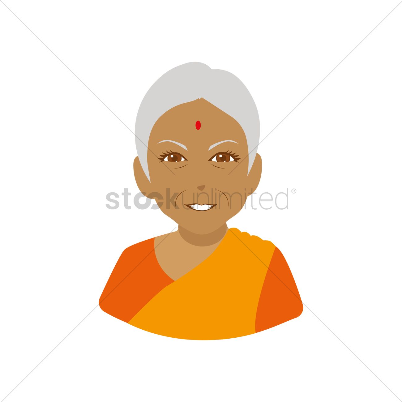 Old Indian Woman Clipart.