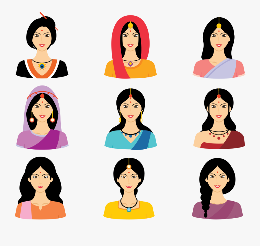 Indian Woman Clipart Group.