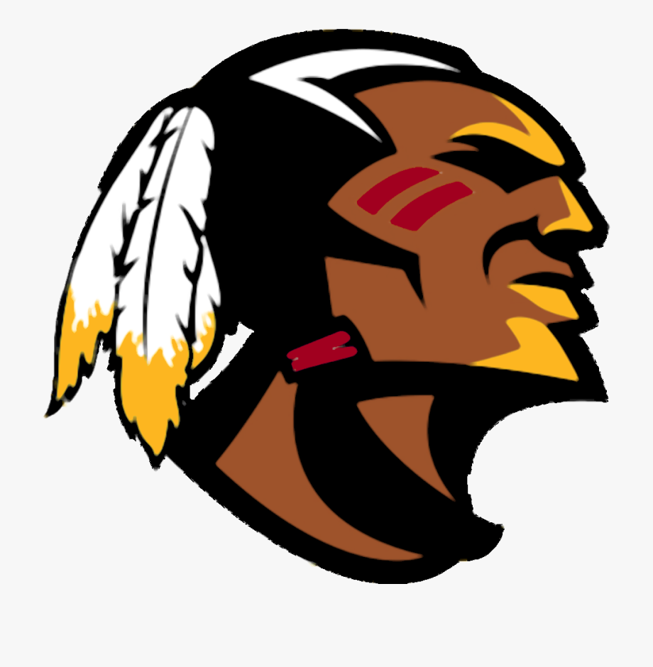 American Football Clipart Red And White Indian Head.