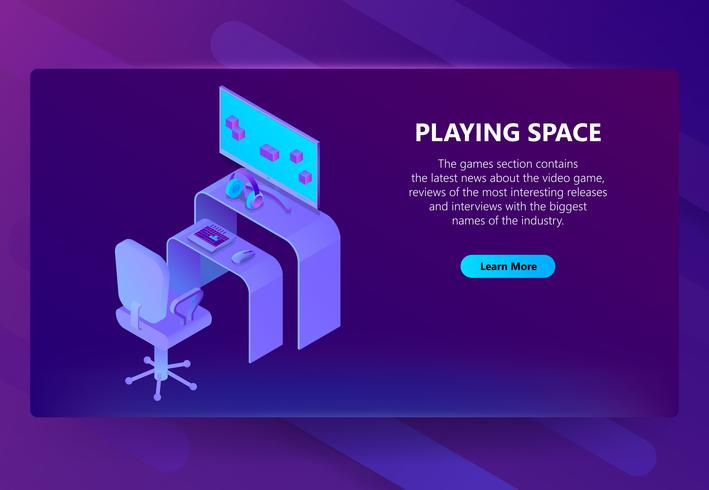 Vector 3d isometric gaming site, entertainment news.