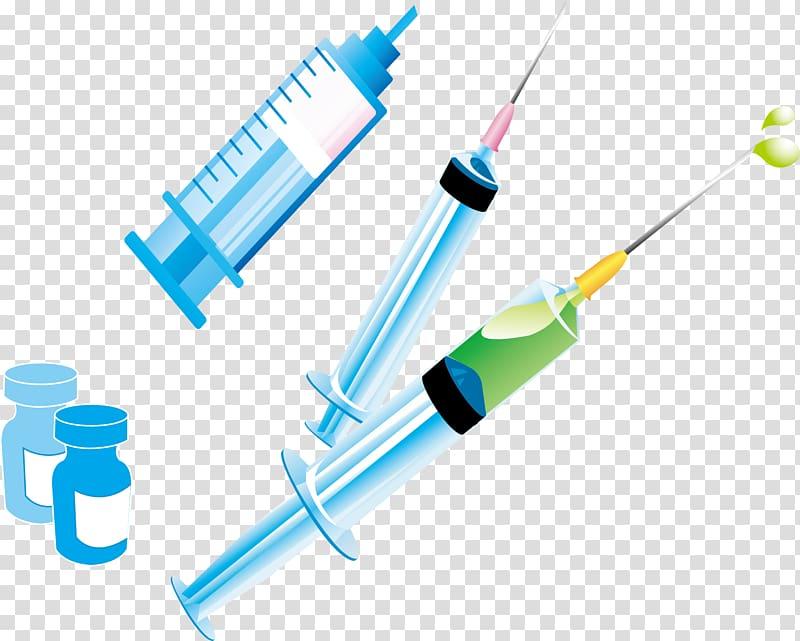 Injection Syringe Vial, Syringes and vials transparent.