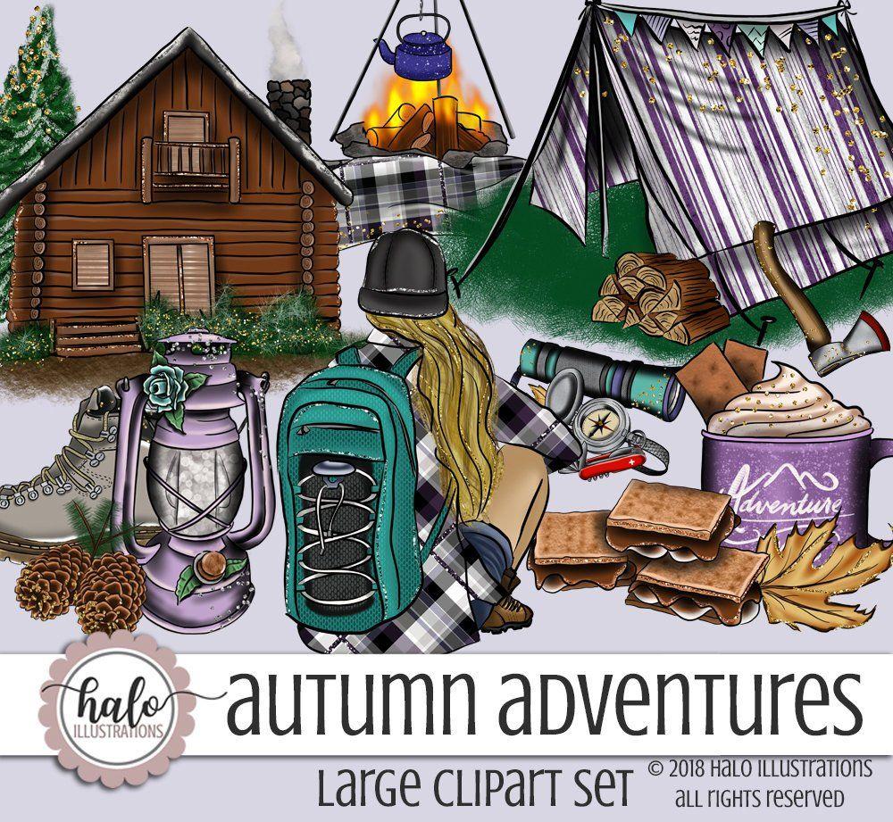 Autumn Clip Art, fashion clipart, Fall Clipart, Camping Clip.