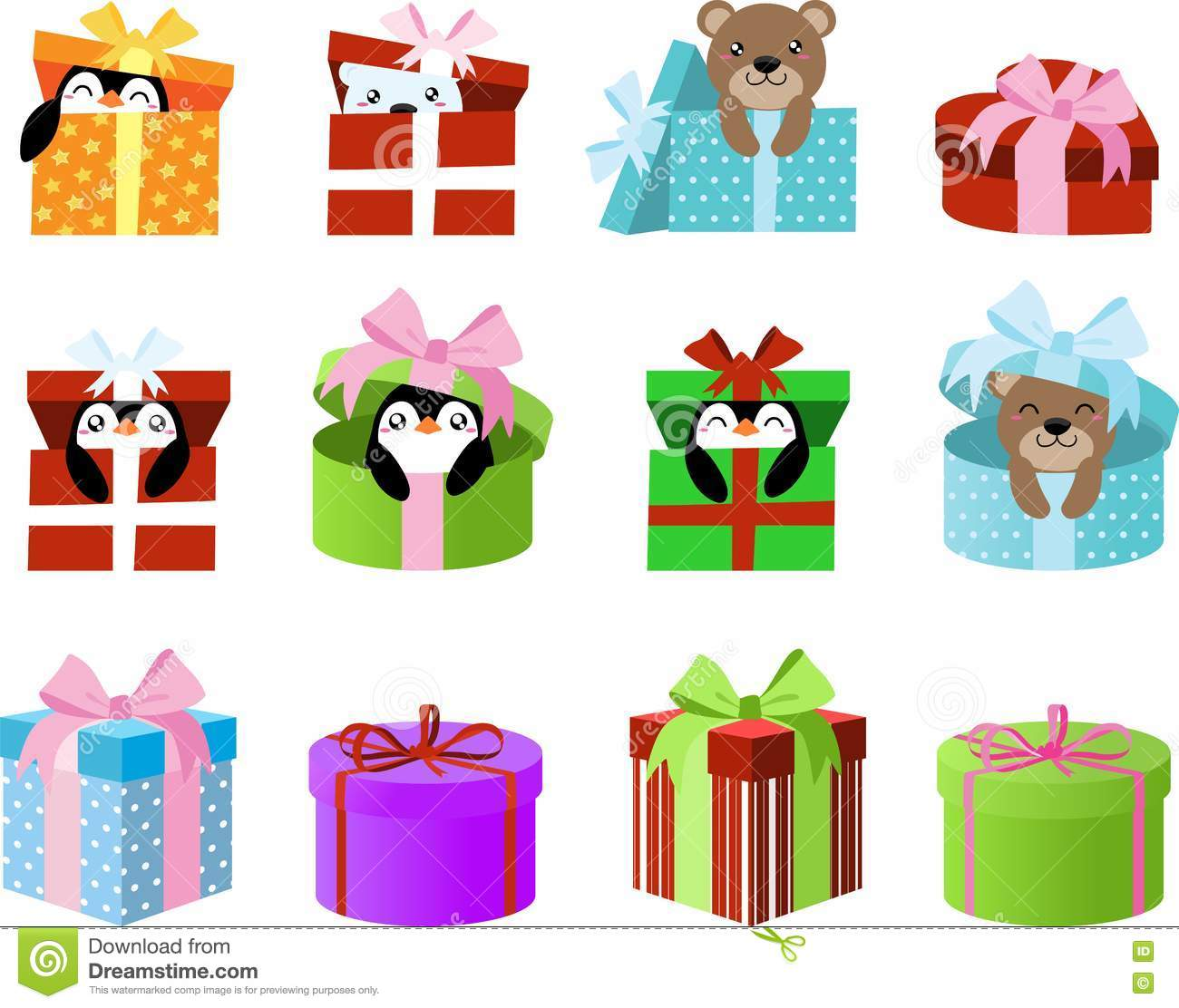 Cute Gift Boxes Clipart With Penguins And Bears Inside. Clip Art For.