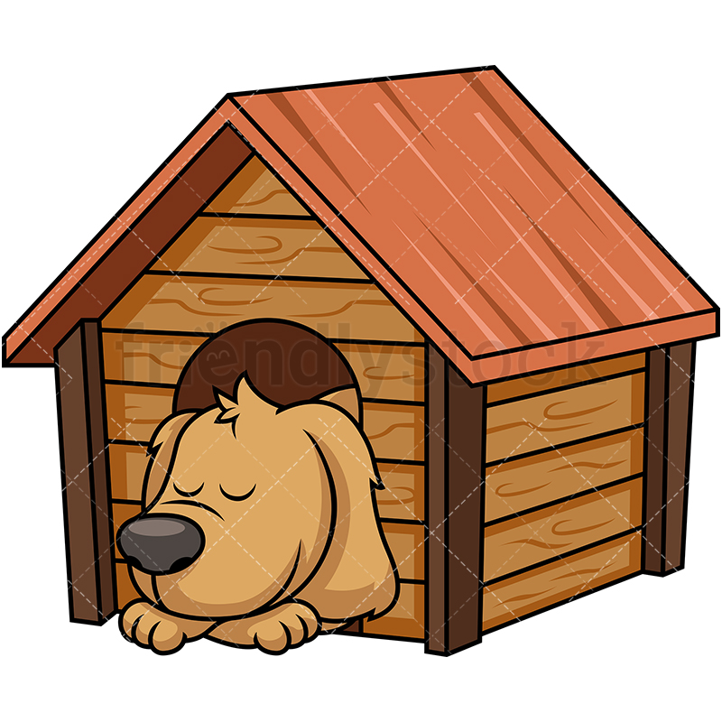 Doggy Sleeping Inside Dog House Cartoon Vector Clipart.