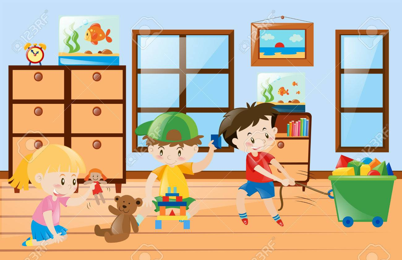 Children Playing Toys Inside The Room Illustration Royalty Free.