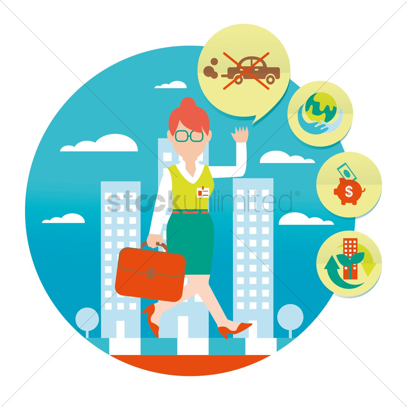 Free Woman walking instead of driving Vector Image.