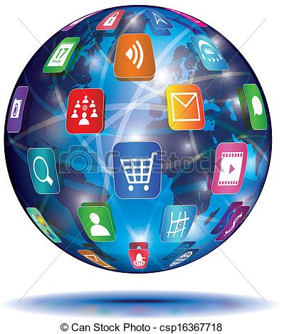 Vector Clip Art of Internet Concept. Globe. Application icons.