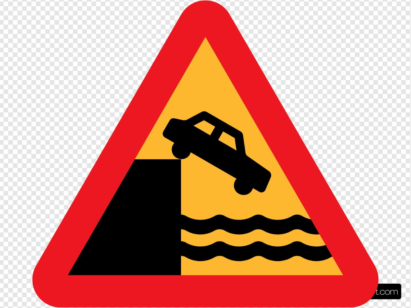 Caution Dont Drive Over A Cliff Into The Ocean Clip art.