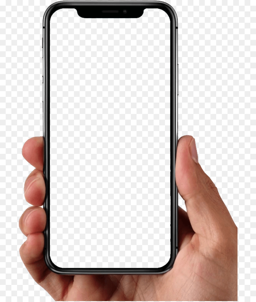 Transparent iPhone X holding with hand clipart.