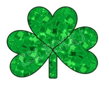 FREE St. Patrick's Day Glitter Shamrock Clip Art Irish Digital ClipArt ESL.