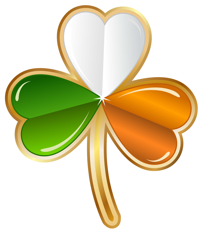St Patricks Day Irish Shamrock Transparent PNG Clip Art Image.