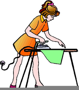 Lady Ironing Clipart.