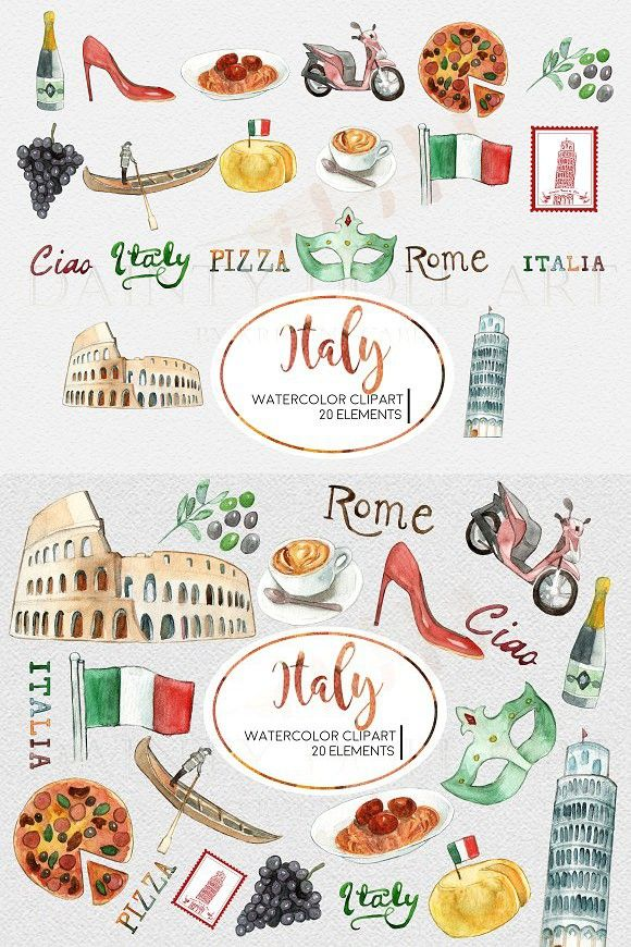 Watercolor Italy Travel Clipart Set.