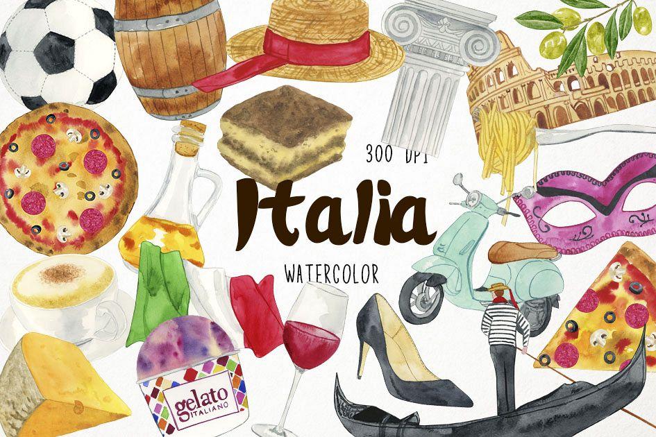 Watercolor Italy Clipart, Italy Clip Art, Italia Clipart.