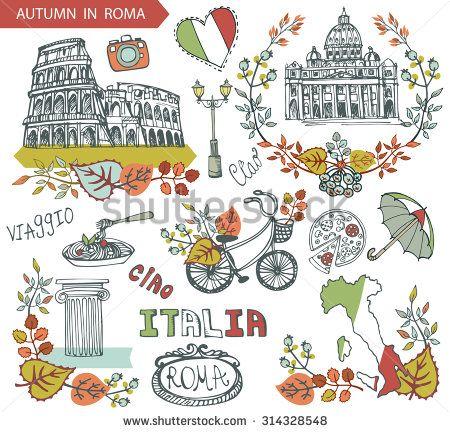 Italian Landmarks Clip Art.