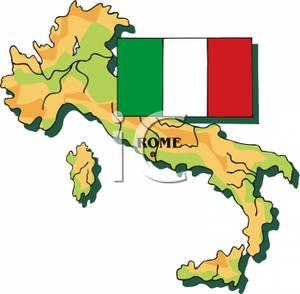 Italy With Italian Flag.